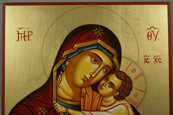 Hand-Painted Greek Orthodox Icon Virgin of the Sweet Kiss