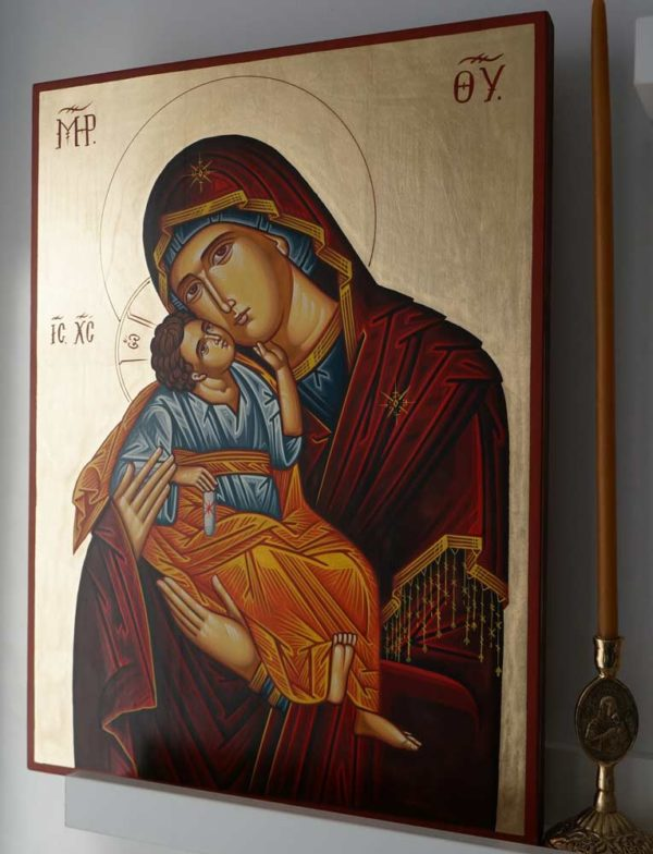 Hand-Painted Orthodox Icon of Theotokos of the Sweet Kiss