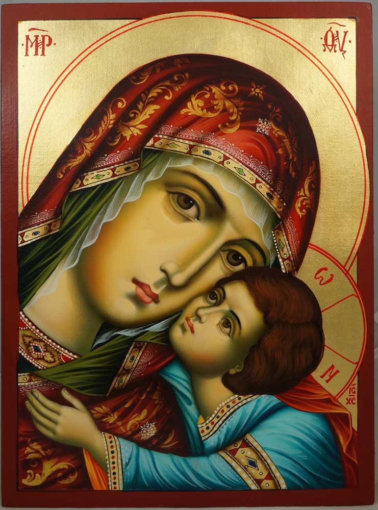 Hand-Painted Orthodox Icon of Virgin Mary Glykofilousa