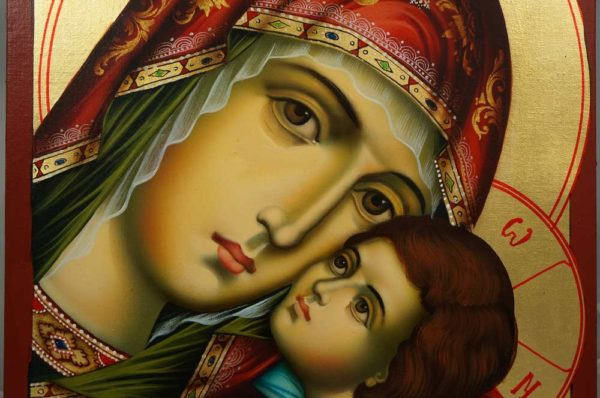 Hand-Painted Orthodox Icon of Virgin Mary Glykofilousa