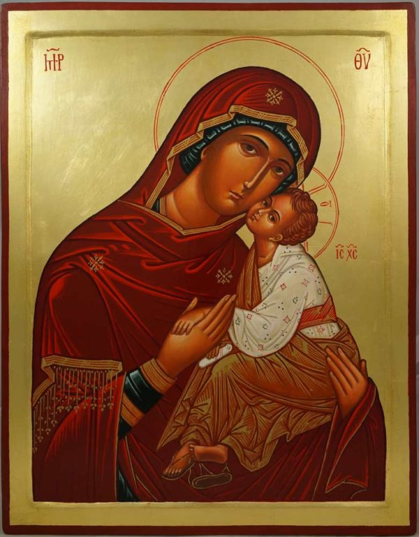 Hand-Painted Byzantine Icon Theotokos Tender Mercy (raised border)