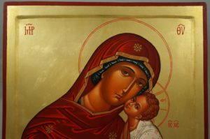 Hand-Painted Byzantine Icon Theotokos Tender Mercy (raised border)