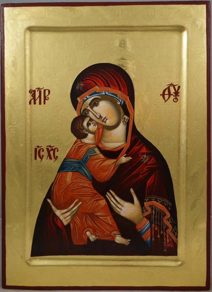 Virgin Mary Vladimirskaya (polished gold) Hand-Painted Orthodox Icon