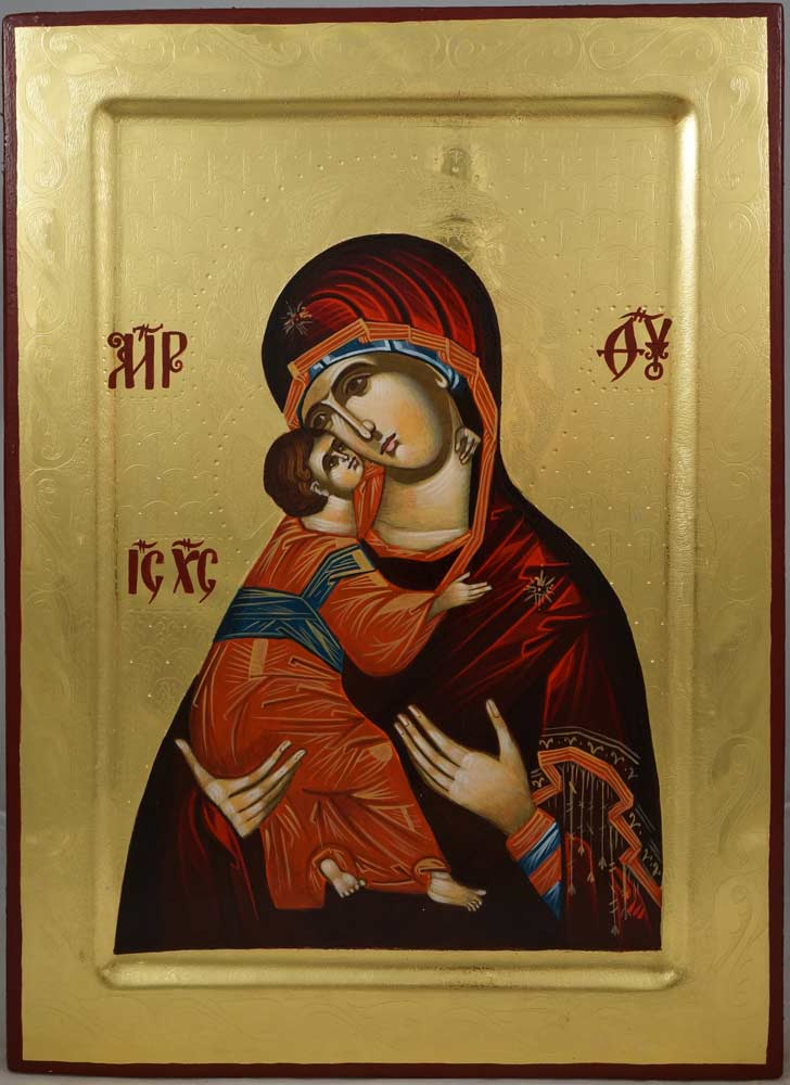 Virgin Mary Vladimirskaya (polished gold) Hand-Painted Orthodox Icon