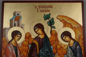 Hand-Painted Orthodox Icon of Hospitality of Abraham (Holy Trinity)