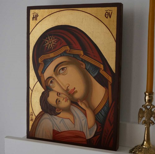 Madonna and Child Jesus small Hand Painted Byzantine Orthodox Icon