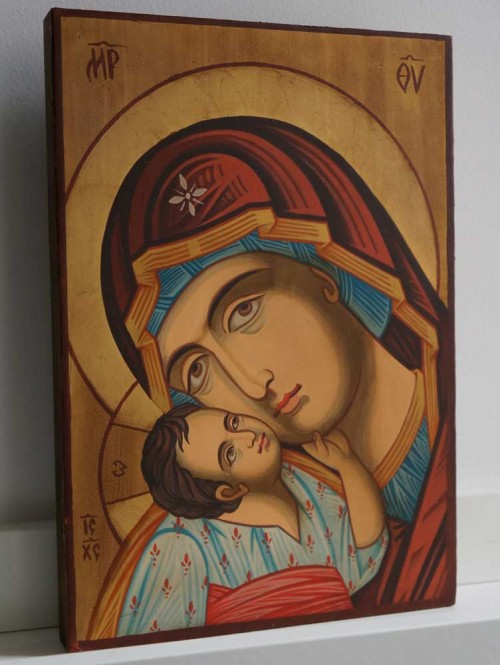Madonna and Child Jesus small Hand Painted Byzantine Orthodox Icon on Wood
