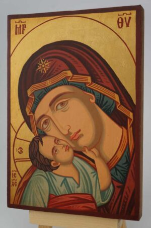 Madonna and Child Jesus small Icon Hand Painted Byzantine Orthodox