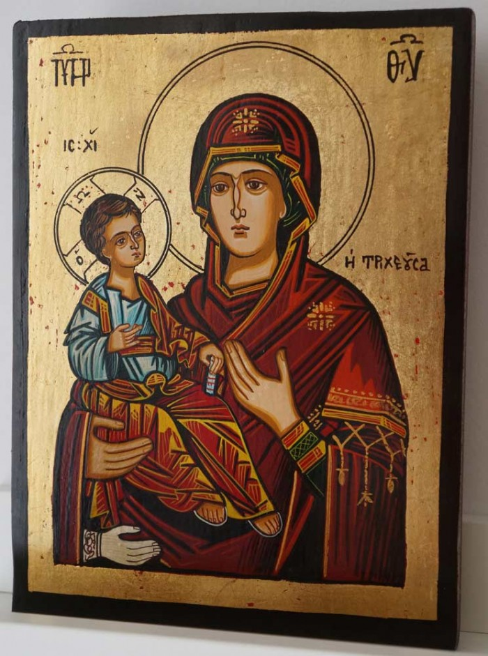 Panagia Tricherousa small Hand Painted Orthodox Icon
