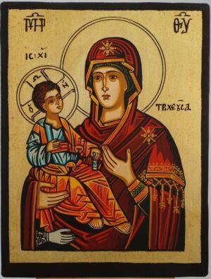 Panagia Tricherousa small Icon Hand Painted Byzantine Orthodox