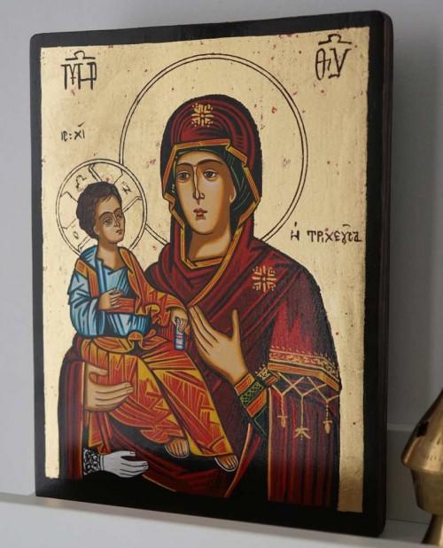 Panagia Tricherousa Hand Painted Orthodox Icon on Wood