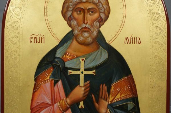 Martyr Menas of Egypt (arched wood) Hand-Painted Icon