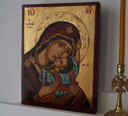 The Virgin Kardiotissa small Hand Painted Greek Orthodox Icon on Wood