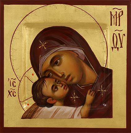 Theotokos Eleusa Hand-Painted Orthodox Icon Miniature