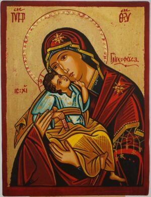 Theotokos Glykophilousa small Icon Hand Painted Byzantine Orthodox