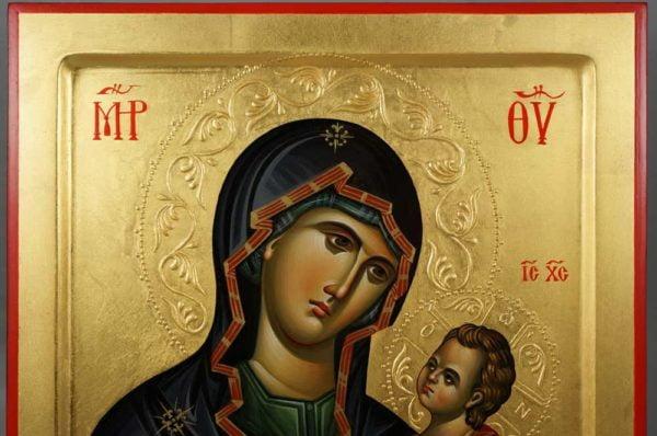 Panagia Hodegetria Hand-Painted Orthodox Byzantine Icon