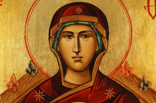 The Mother of God Enthroned Hand-Painted Byzantine Icon