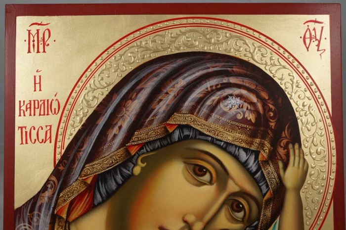 Panagia Kardiotissa (halo relief) Hand-Painted Orthodox Icon