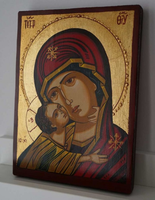 Virgin Mary Vladimirskaya small Hand Painted Byzantine Icon on Wood