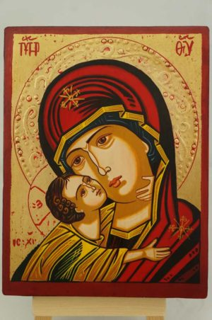 Virgin Mary Vladimirskaya small Hand Painted Orthodox Icon on Wood