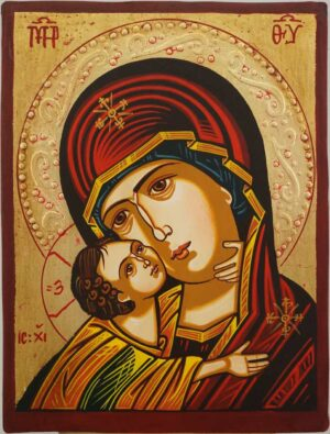 Virgin Mary Vladimirskaya small Hand Painted Orthodox Icon on Wood