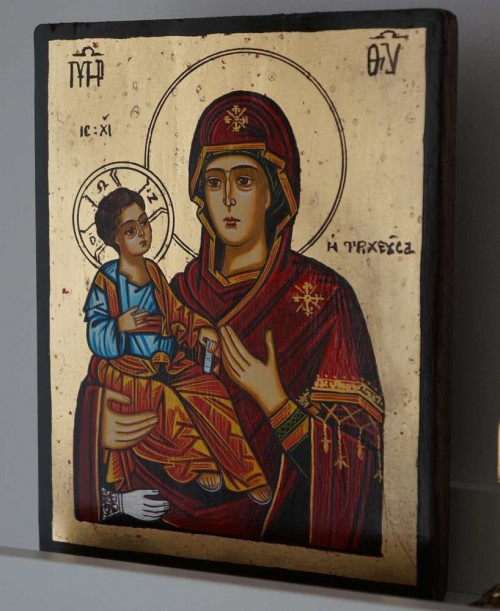 Panagia Tricherousa (small) Hand-Painted Orthodox Icon