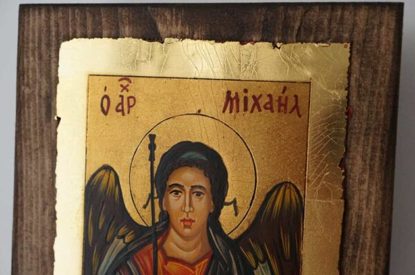 Archangel Michael small Hand Painted Byzantine Icon on Wood