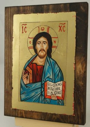 Christ Pantokrator small Hand Painted Icon on Wood