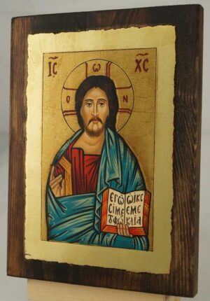 Christ Pantokrator small Hand Painted Orthodox Icon on Wood