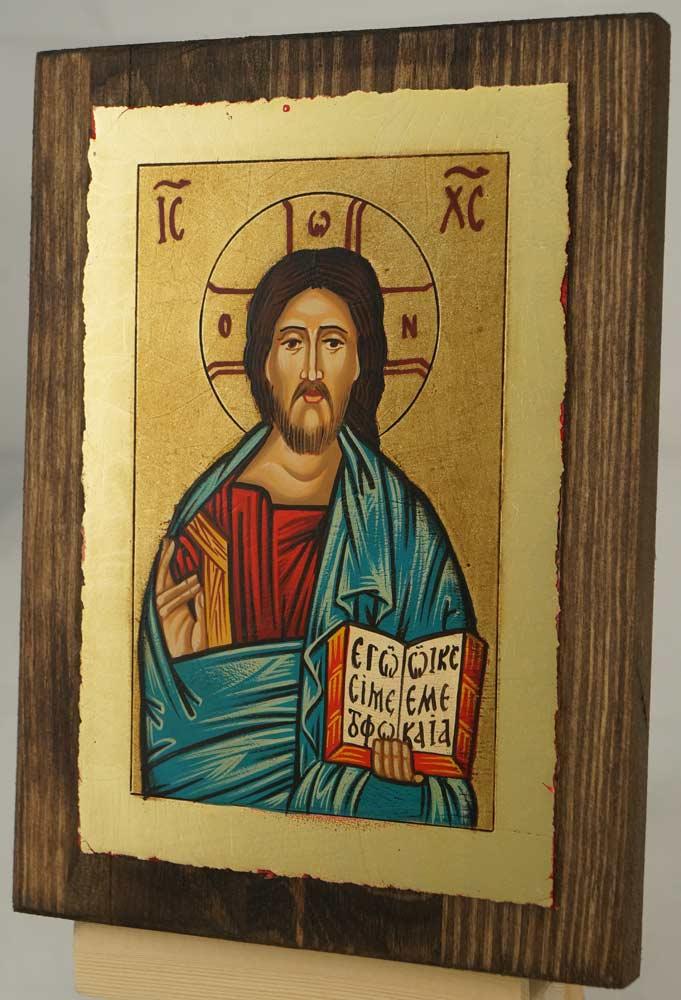 Christ Pantokrator small Hand Painted Orthodox Icon on Wood