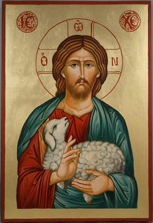 Christ the Good Shepherd Large Hand Painted Byzantine Icon on Wood