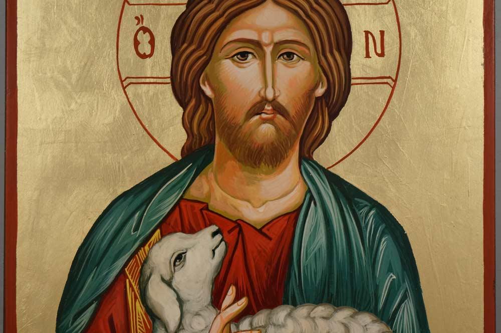 Christ the Good Shepherd Large Hand Painted Byzantine Icon on Wood