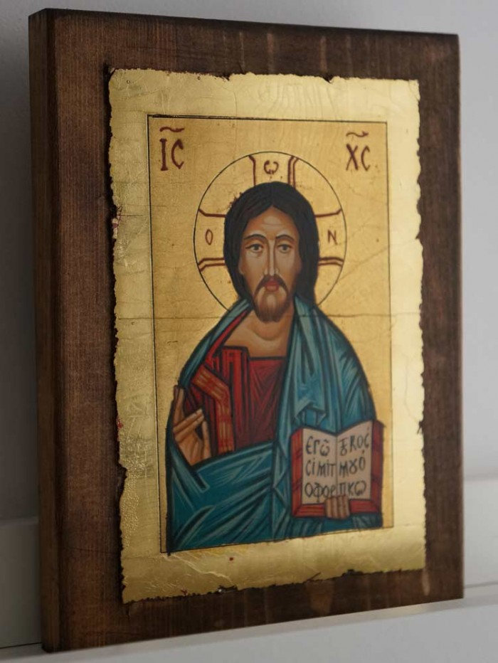 Jesus Christ Pantocrator Open Book Hand Painted Orthodox Byzantine Icon