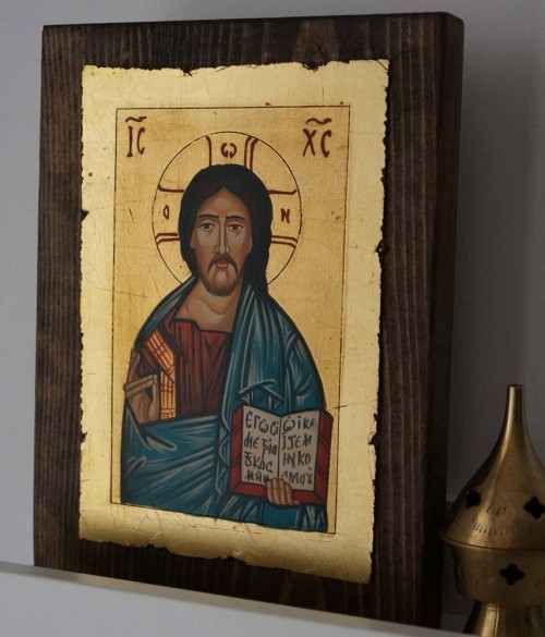 Hand-Painted Orthodox Icon of Hand-Painted Orthodox Icon of Christ Pantokrator (small)