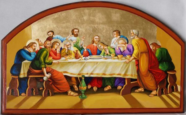 Mystical Supper Last Hand-Painted Byzantine Orthodox Icon