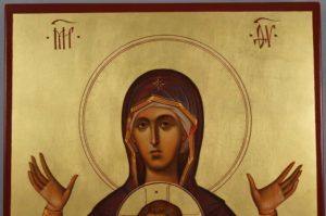 Hand-Painted Byzantine Icon of Our Lady of the Sign (Znamenie)