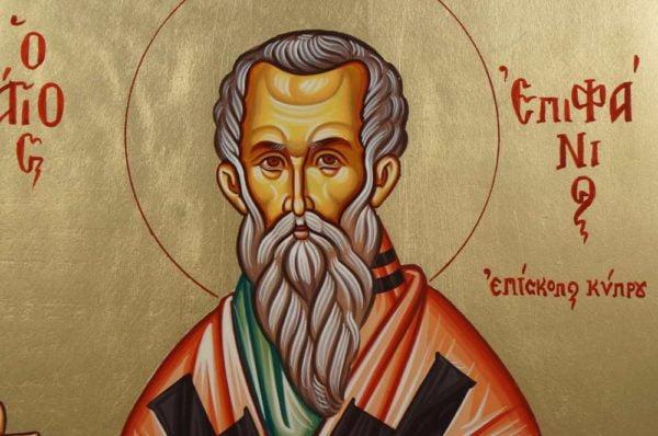 Saint Epiphanius Hand-Painted Greek Orthodox Icon