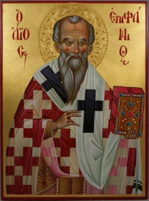 St Epiphanius of Salamis Hand-Painted Greek Orthodox Icon