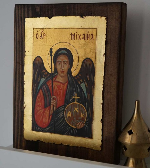 Hand-Painted Byzantine Icon of Archangel Michael (small)