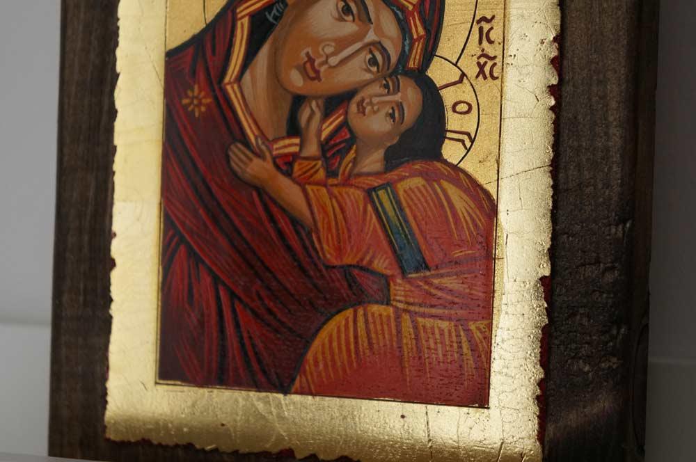 Theotokos Sweet Loving small Hand Painted Orthodox Icon on Wood