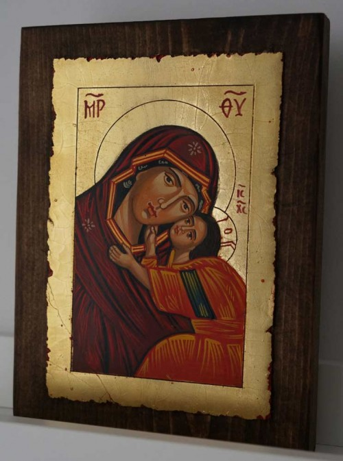 Theotokos Tenderness small Hand Painted Orthodox Icon