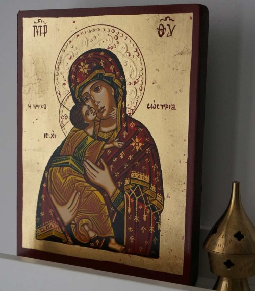 Hand-Painted Orthodox Icon of Virgin Mary Tenderness (small)