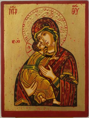 Virgin Mary Tenderness small Hand Painted Orthodox Icon