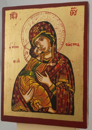 Virgin Mary Tenderness small Hand Painted Orthodox Icon on Wood