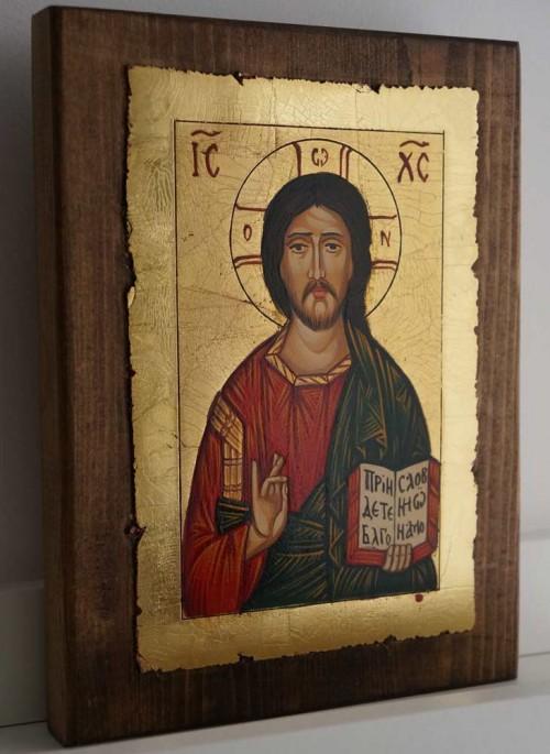 Jesus Christ Pantokrator Open Book Hand Painted Orthodox Icon
