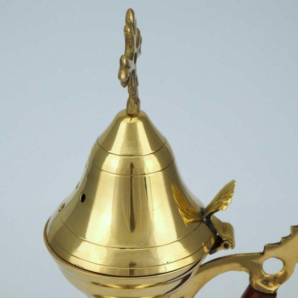 Large Brass Incense Burner Wooden Handle