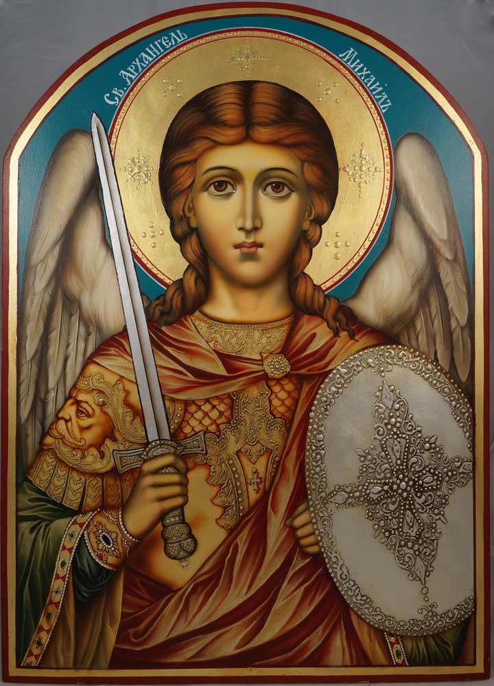 St Archangel Michael (arched wood) Hand-Painted Icon