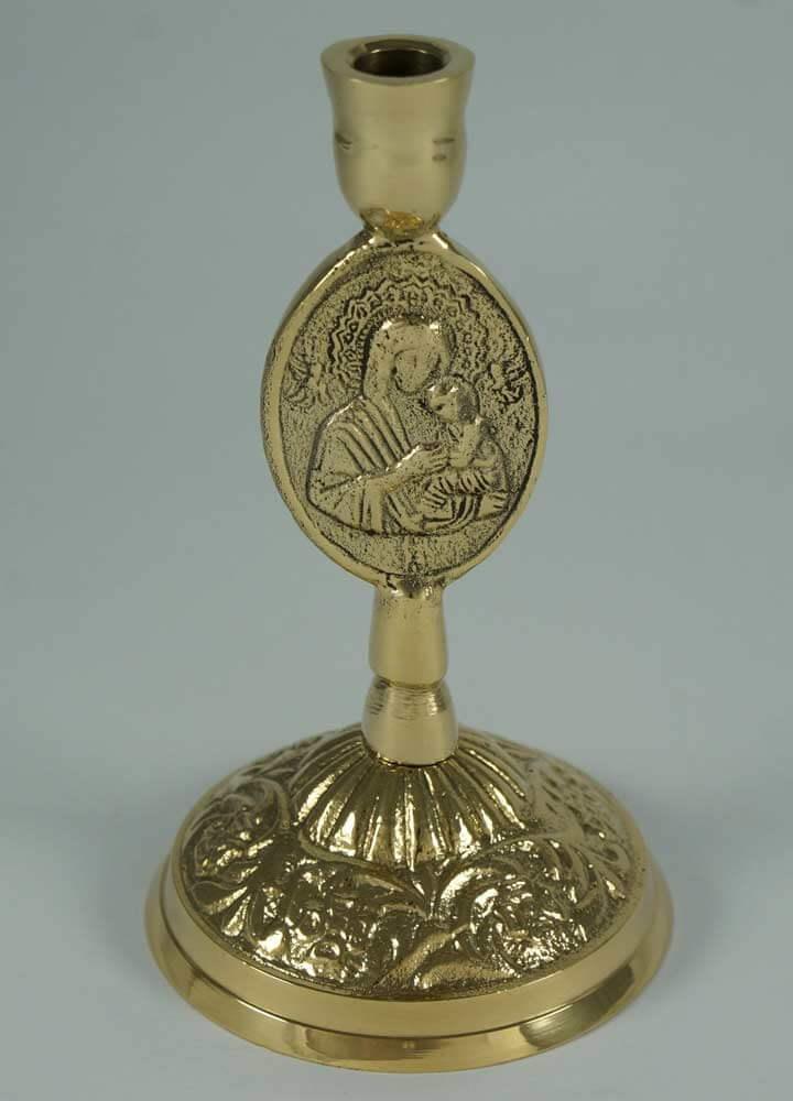 Single Brass Byzantine Candle Stand Theotokos