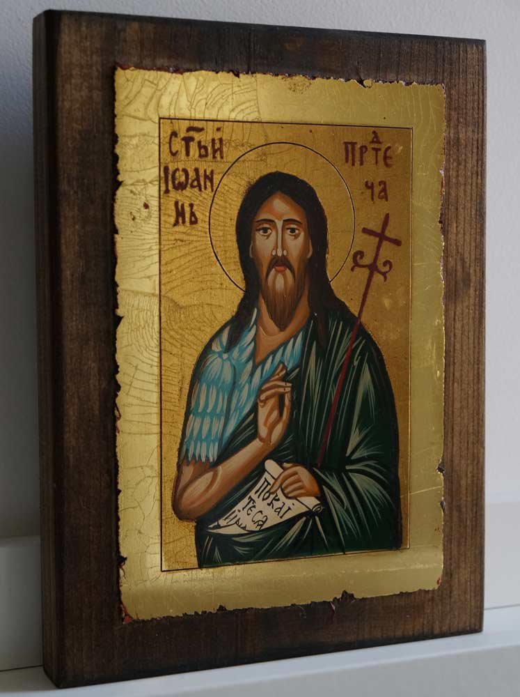 St John the Baptist small Hand Painted Byzantine Icon on Wood