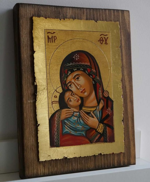 Theotokos Eleusa Rila small Hand Painted Icon on Wood